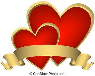 gouden, (vector), twee, rood, hartjes, lint