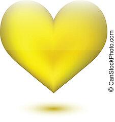gouden, vorm, hart