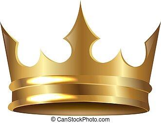 gouden, witte , kroon, vrijstaand, achtergrond