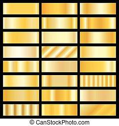 gradients, vector, set, goud