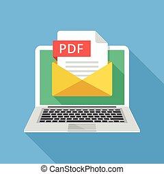 grafisch, aantekenboekje, vector, design., pdf, draagbare computer, file., illustratie, document., bestand, lang, communie, plat, email, creatief, moderne, enveloppe, schaduw, bijlage, concepts.