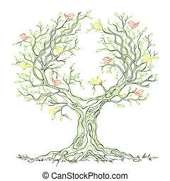 grafisch, boompje, branchy, vector, groene, vogels