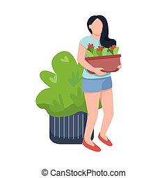 grafisch, spotprent, illustratie, character., groeiende kleur, vrouwlijk, planten, care, vrijstaand, vector, groen, bloemen, plat, bloem, jonge, flowerbed, web ontwerp, animatie, vrouw, anoniem
