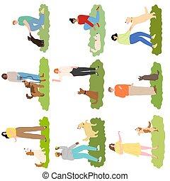 gras, anders, fokken, honden, set, buiten, mensen, opleiding