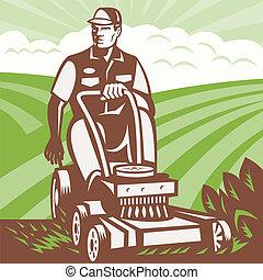 grasmaaimachine, retro, paardrijden, landscaper, tuinman