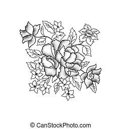 gravure, schets, bloem, bouquet., achtergrond, floral