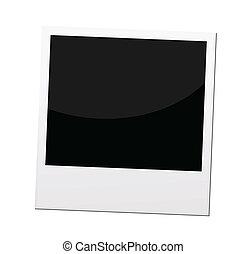 grens, fotokader, polaroid, vector, of