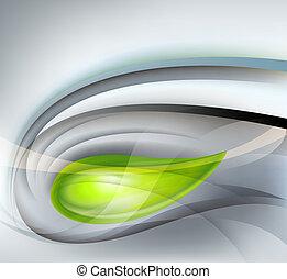 grijs, abstract, groene achtergrond