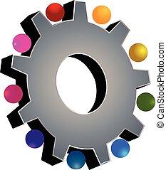 grijs, teamwork, tandwiel, logo