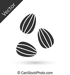 grijze , pictogram, vector, vrijstaand, witte , achtergrond., plant, zaden, specifiek