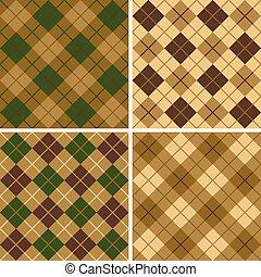 groen-bruin, model, argyle-plaid