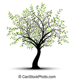 groen wit, vector, boompje, achtergrond