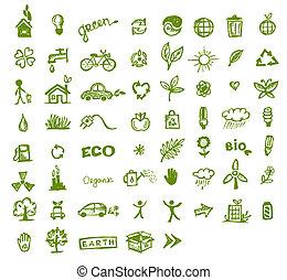 groene, ecologie, ontwerp, jouw, iconen