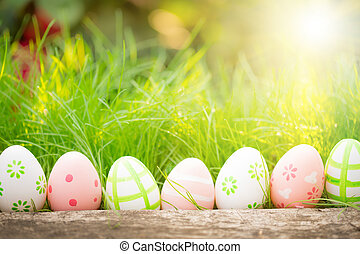 groene, eitjes, gras, pasen