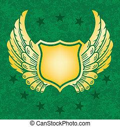 groene, grunge, schild, goud, achtergrond