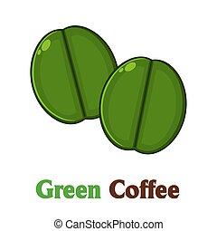 groene, koffie bonen, twee, spotprent