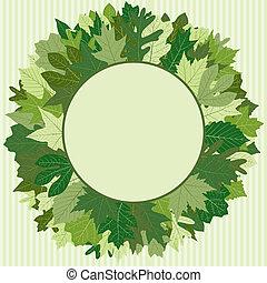 groene, krans, blad