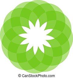 groene, pictogram, vector, bloem, lotus