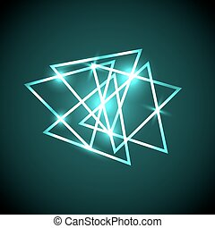groene samenvatting, neon, driehoeken, achtergrond