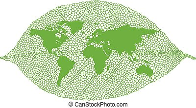 groene, vector, blad, kaart, wereld