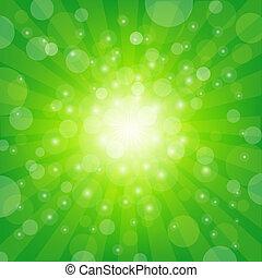 groene, zonnestraal, achtergrond