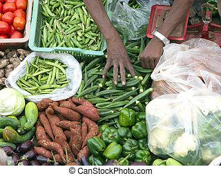 groente, fris, het verkopen