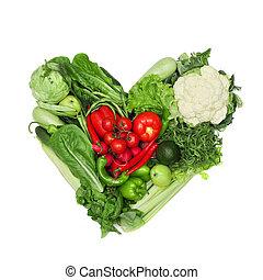 groente, hart, witte