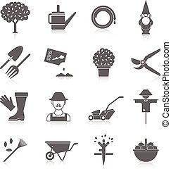 groente, iconen, tuin, set