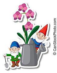 groenteblik, sticker, tuin, watering, mal, kabouter, orchids
