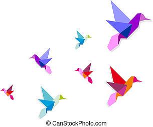 groep, kolibrie, gevarieerd, origami