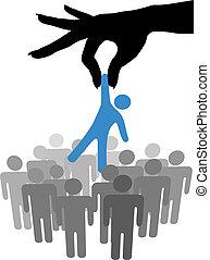 groep, mensen, hand, persoon, vinden, selekteer