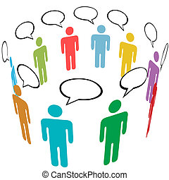 groep, netwerk, mensen, media, symbool, kleuren, sociaal, praatje