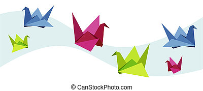 groep, zwaan, gevarieerd, origami