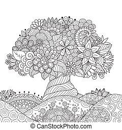 grond, boompje, tekening, abstracte kunst, floral, lijn, mooi