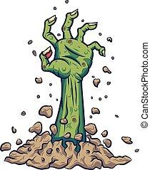 grond, hand, spotprent, zombie, uit