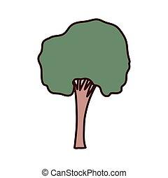 groot, boompje, vrijstaand, pictogram