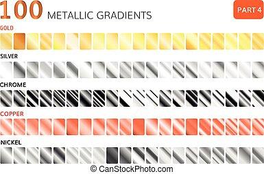 groot, gradients, metalen, set., gouden