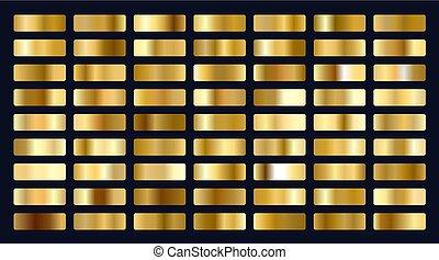 groot, gradients, set, goud, metalen