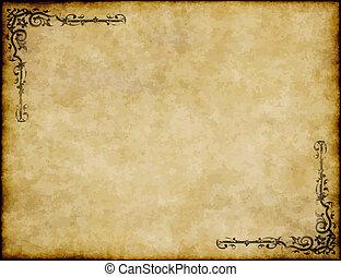 groot, oud, textuur, papier, ontwerp, achtergrond, sierlijk, perkament