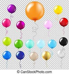 groot, set, ballons, transparant, achtergrond