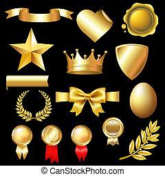 groot, set, goud, communie