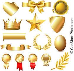 groot, verzameling, gouden