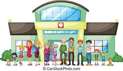 groot, ziekenhuis, buiten, gezin