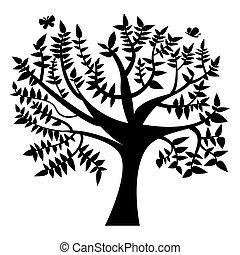 grote boom, vlinder, silhouette, seizoenen, illustratie, zomer, natuur, lente