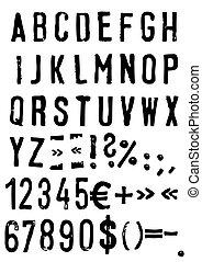 grunge, alfabet, vector, -