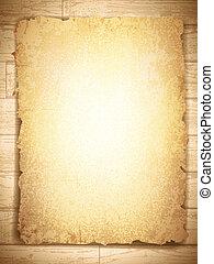 grunge, houten, ouderwetse , papier, achtergrond, aangebrand