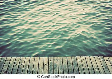 grunge, raad, rippling, ouderwetse , op, oceaan, hout, pijler, waves.