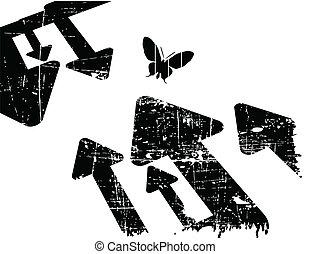 grunge, retro, zwarte achtergrond, vector, witte