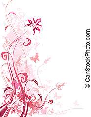 grunge, roze, floral