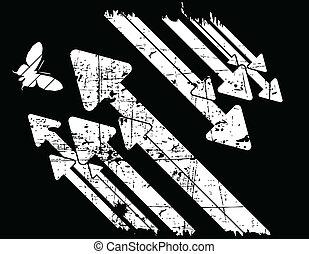 grunge, vector, black , retro, achtergrond, witte